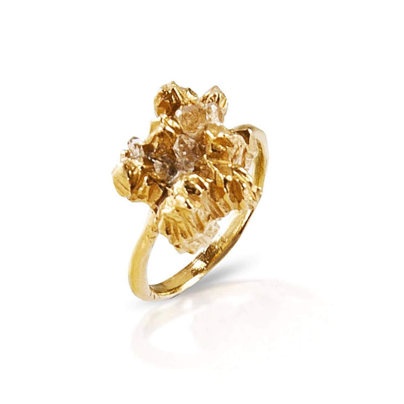 Close up of irregular handmade ring by Niza Huang in 22ct gold plated silver from the under earth collection