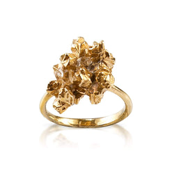 Details of irregular handmade statement ring by Niza Huang in 22ct Gold Plated Silver and Herkimer Diamonds