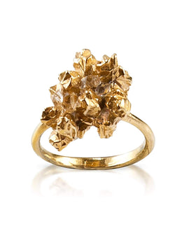 Gold Herkimer Diamond Irregular Ring - Under Earth Collection