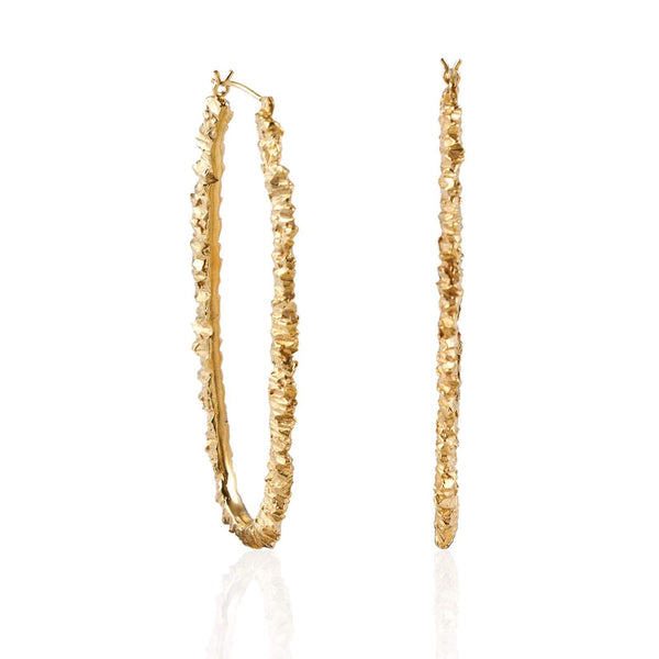 Gold Texture Hoop Earrings - Under Earth Collection
