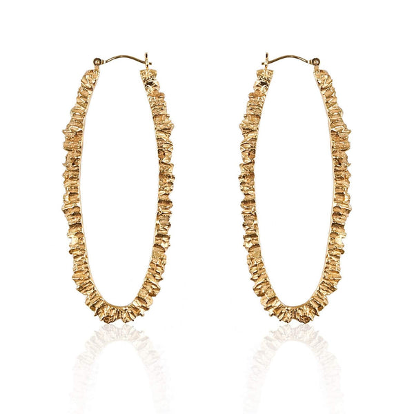 Handmade Gold Plated Texture Hoop Earrings - Under Earth Collection