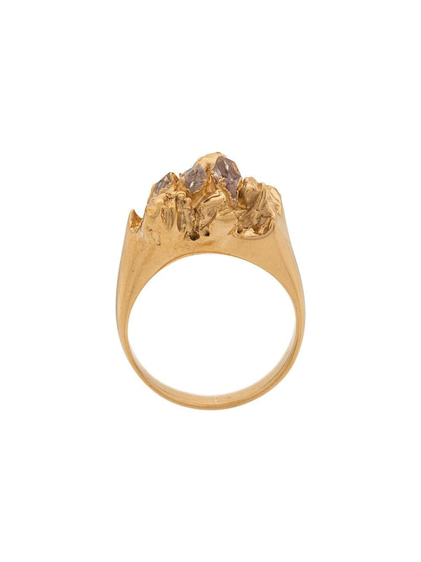 Handmade Gold Plated Ring with Herkimer diamonds