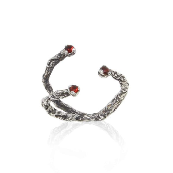 Black oxidised silver and garnet stones moments ring by Niza Huang available at cuemars.com