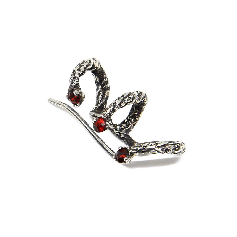 Niza Huang handcrafted climber earring oxidised silver and garnet