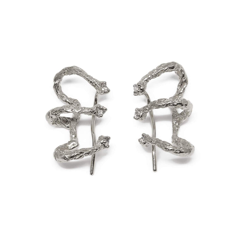 Niza Huang handcrafted climber earrings silver and white topaz