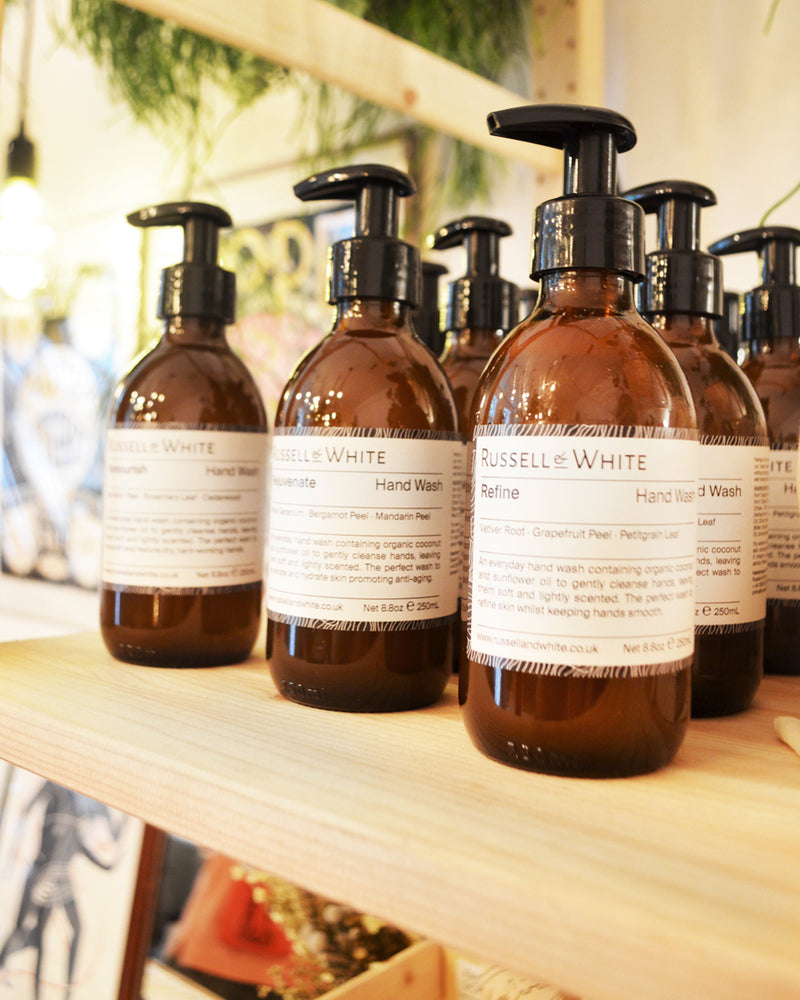 Organic anti bacterial and exfoliating handwash by British independent brand Russel & White