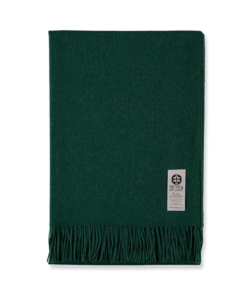 Woven British Racing Green Baby Alpaca soft blanket designed in the UK by So Cosy
