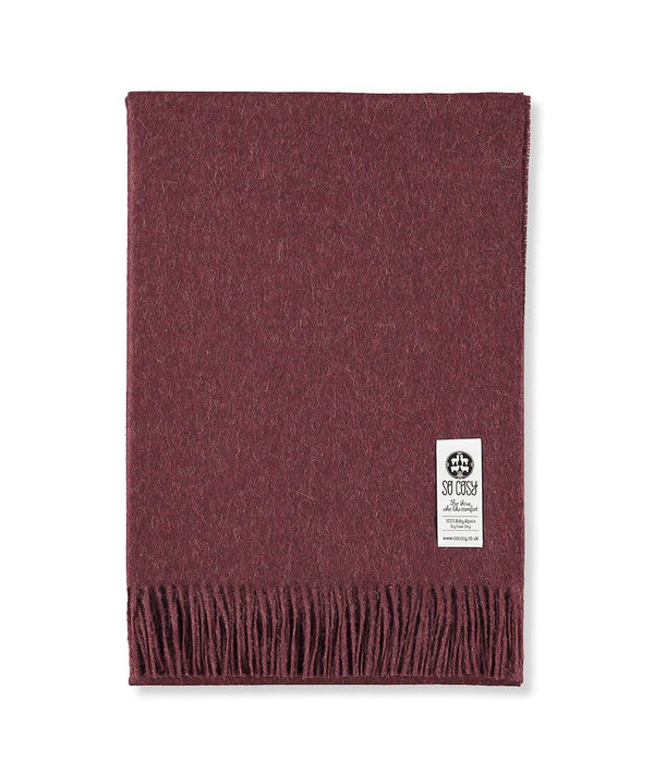 Woven Burgundy Baby Alpaca soft blanket designed in the UK by So Cosy