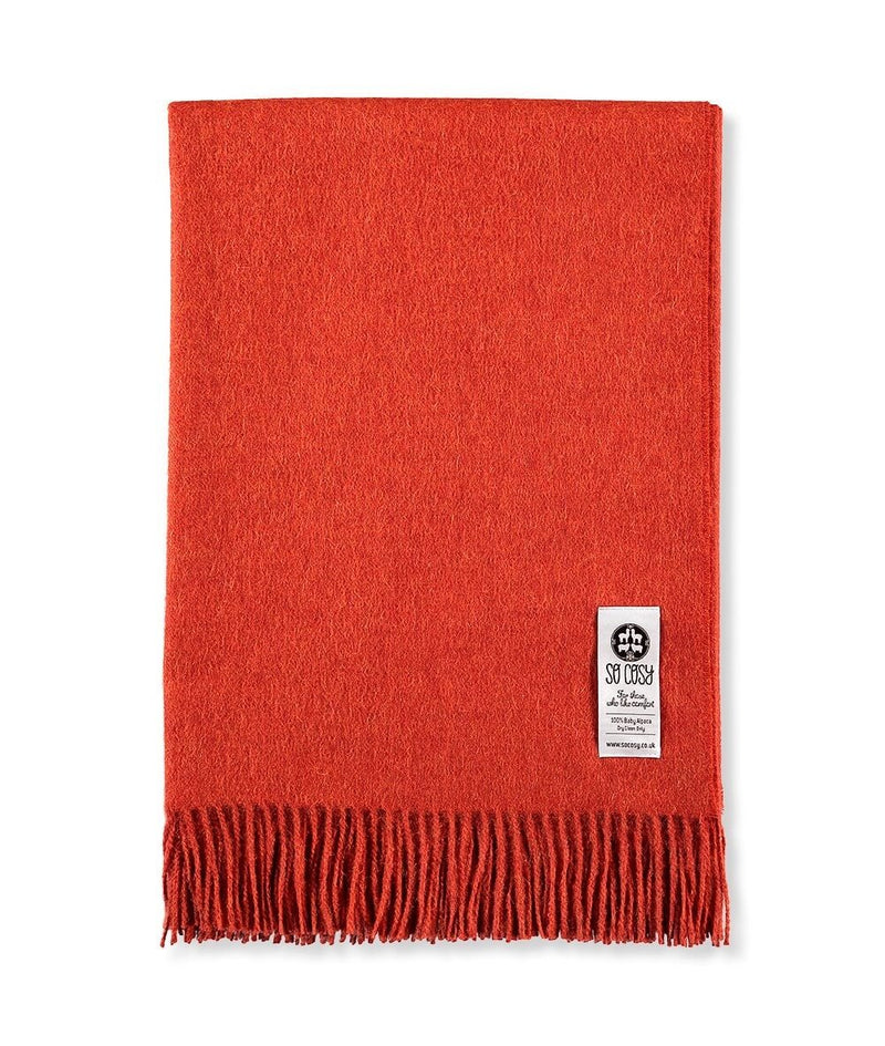 Woven Burnt Orange Baby Alpaca soft blanket designed in the UK by So Cosy