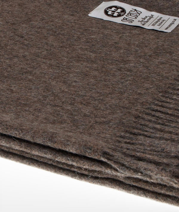 Close Up Woven Mocha Baby Alpaca soft blanket designed in the UK by So Cosy