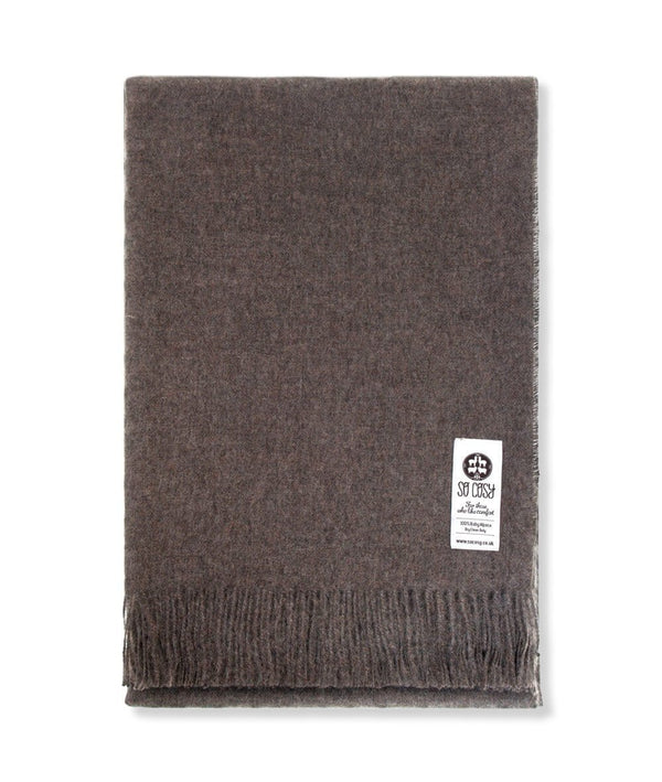 Woven Mocha Baby Alpaca soft blanket designed in the UK by So Cosy