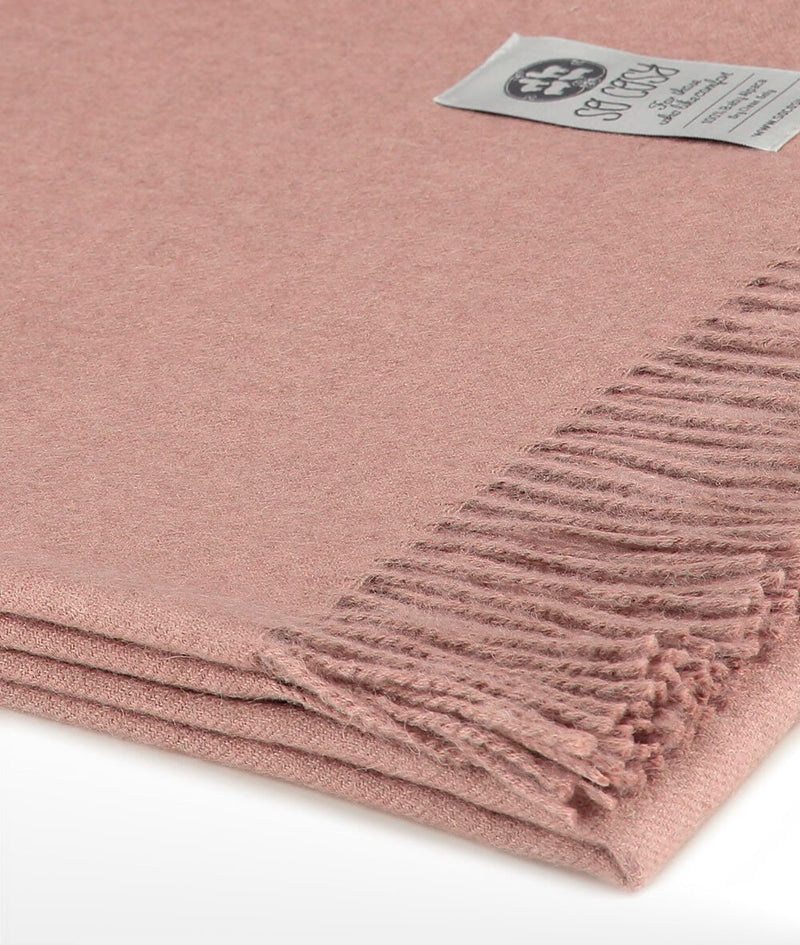 Close up Woven Pale Pink Baby Alpaca soft blanket designed in the UK by So Cosy