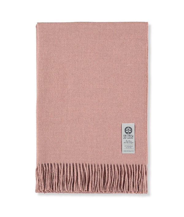 Woven Pale Pink Baby Alpaca soft blanket designed in the UK by So Cosy