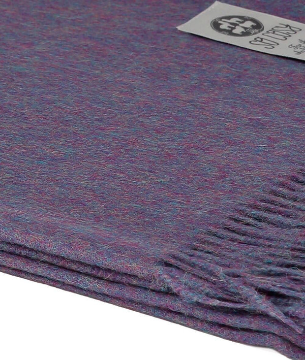 Close Up Woven Purple Baby Alpaca soft blanket designed in the UK by So Cosy Dark Raspberry Melange