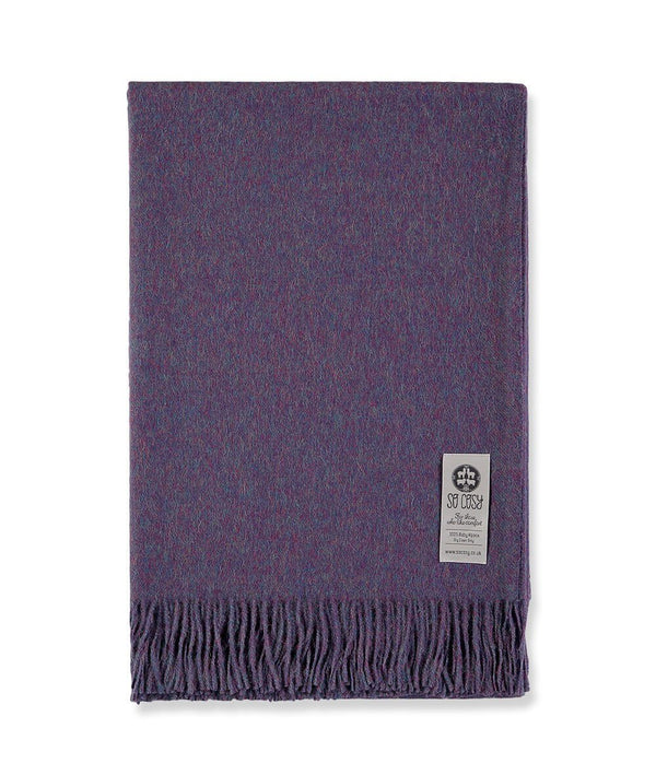 Woven Purple Baby Alpaca soft blanket designed in the UK by So Cosy Dark Raspberry Melange