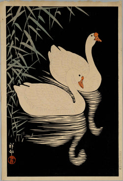 Shunga vintage print portraying a couple of white swans available at cuemars