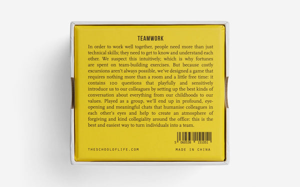 Teamwork Card Game Blurb by The School of Life London