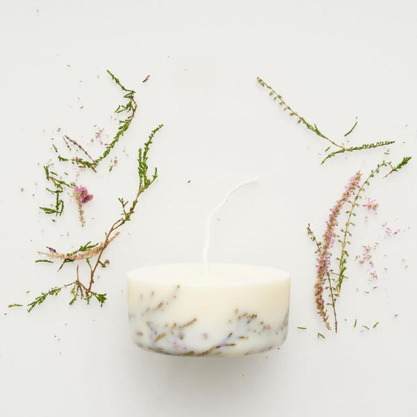 Close up handmade eco soy wax mini candle heather
