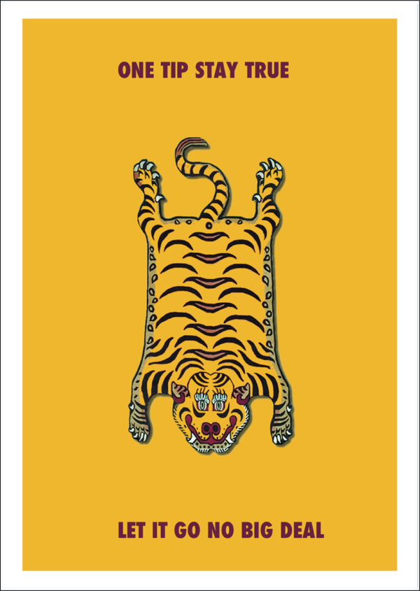 Picture of a Tibetan Tiger Rug illustration by East London digital illustration brand Goodbond, available exclusively at Cuemars.com