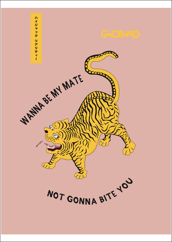 Picture of Wanna Be My Mate Tiger Print by London based design studio Goodbond available at cuemars