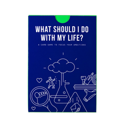 Picture of the front of What Should I do with my Life, a card game to focus your ambitions and helps you decide what you can do usefully for the rest of your life