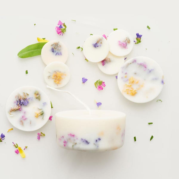 Wild flowers eco soy candle & soy discs - gift box