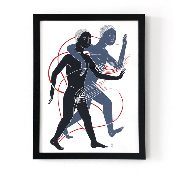 Framed limited edition adam and adam screen print by Tom Berry