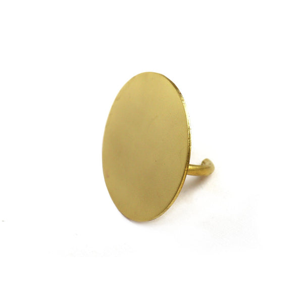 Adjustable Brass Ring with Round Face by Corosch London | Discover now at Cuemars