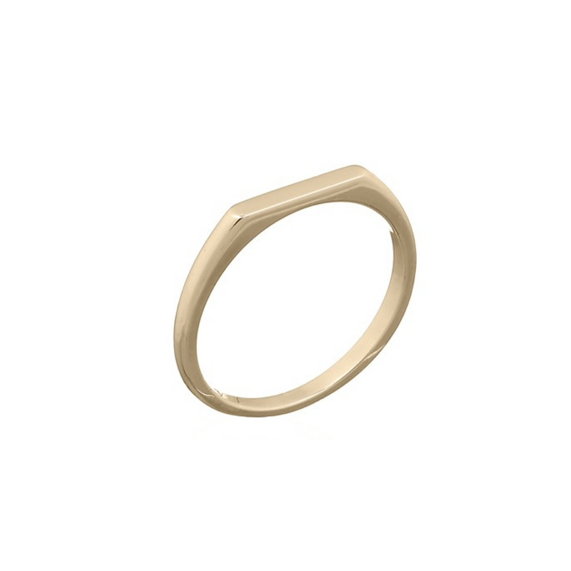 picture of handmade flat signet ring in Gold Plated Sterling Silver by indie brand Keep it Peachy, available exclusively at Cuemars