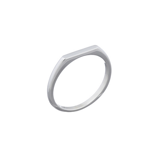 picture of handmade flat signet ring in Sterling Silver by indie brand Keep it Peachy, available exclusively at Cuemars