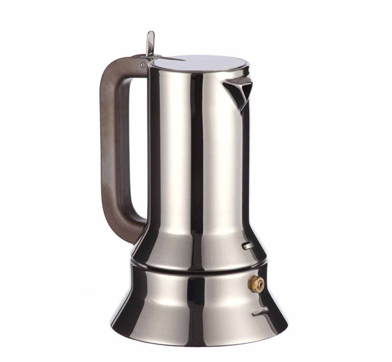 Award winning Alessi Espresso Maker 9090 in stainless steel with a black handle by Richard Sapper