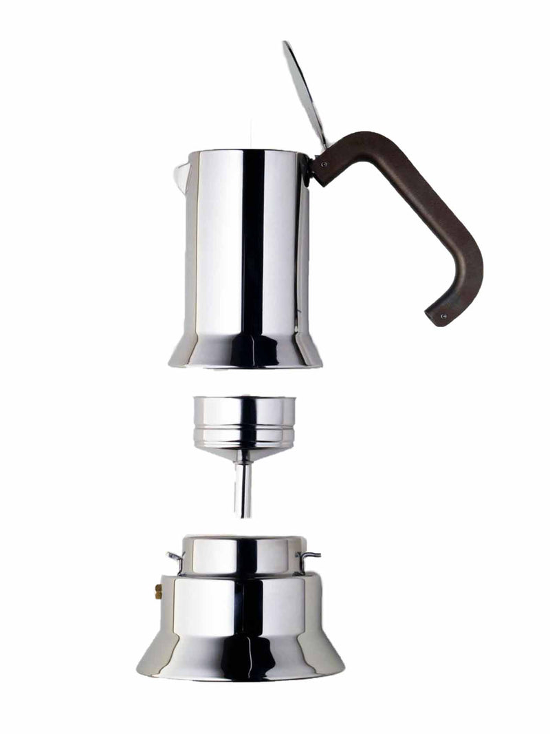 Award winning Alessi Espresso Maker 9090 components in stainless steel with a black handle by Richard Sapper