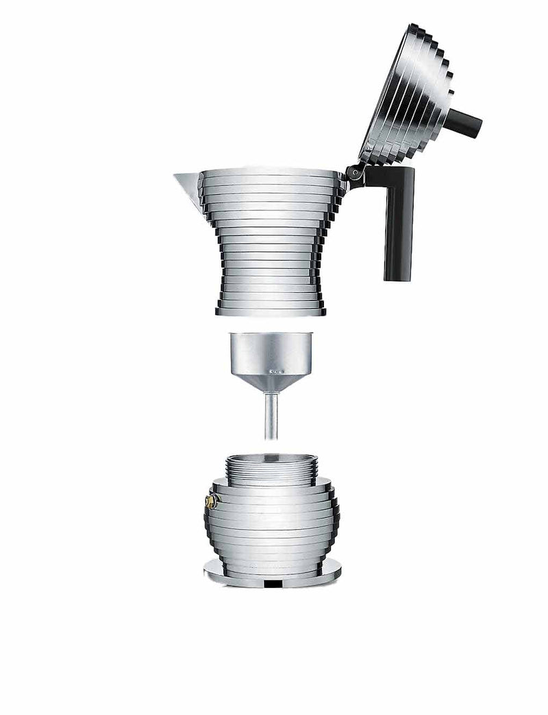 Components of Alessi Pulcina Espresso Maker in aluminium cast with a black handle and knob in the shape of a chick or pulcina in italian