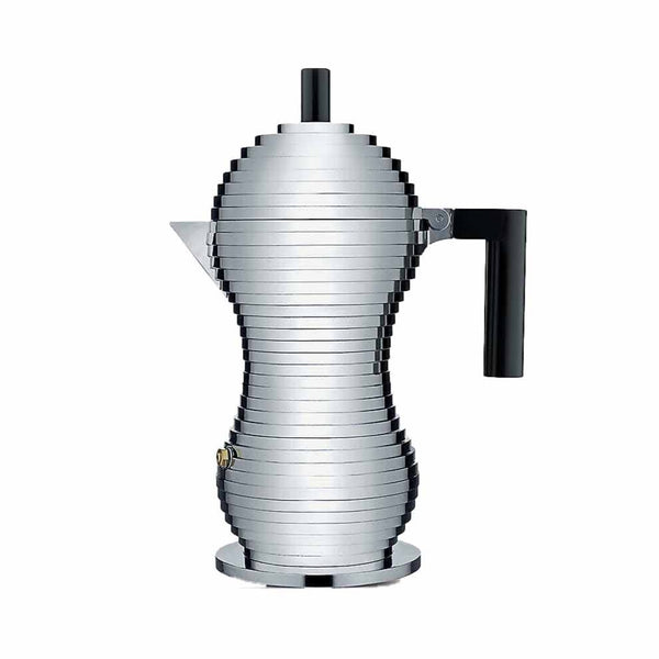 Alessi Pulcina Espresso Maker in aluminium cast with a black handle and knob in the shape of a chick or pulcina in italian