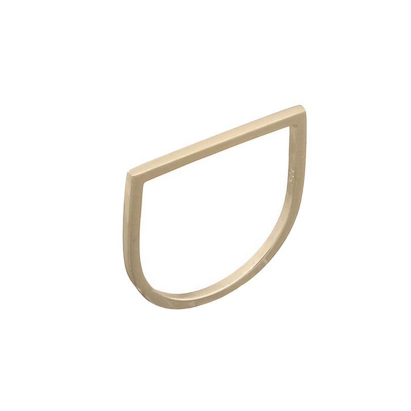 picture of handmade flat geometric ring in Gold Plated Sterling Silver by indie brand Keep it Peachy, available exclusively at Cuemars