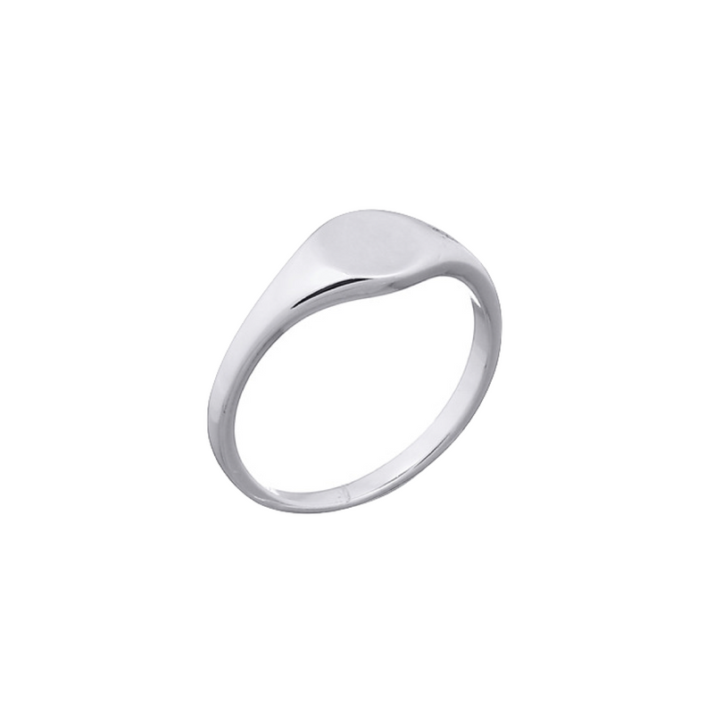 picture of handmade round signet ring in Sterling Silver by indie brand Keep it Peachy, available exclusively at Cuemars