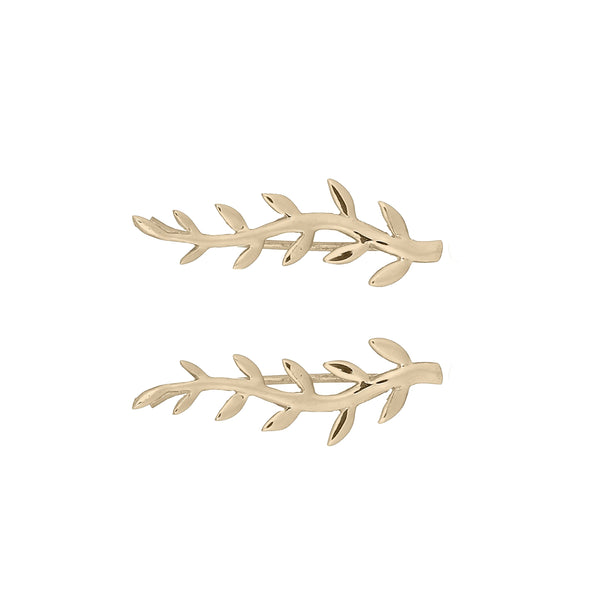 picture of handmade leaf crawler earrings in Gold Plated Sterling Silver by indie brand Keep it Peachy, available exclusively at Cuemars