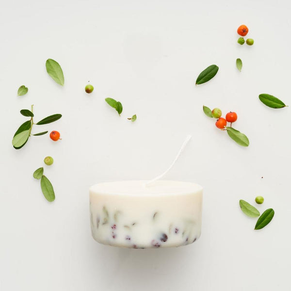 Ashberries & bilberry leaves mini candle