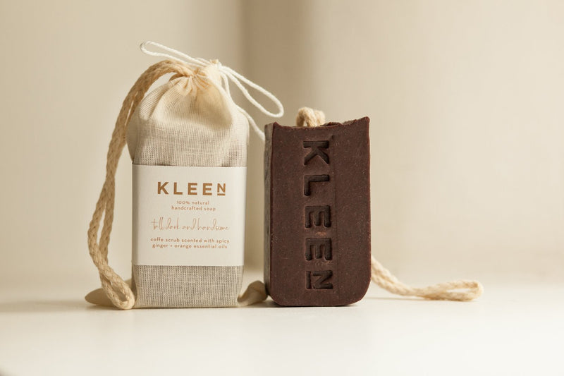Coffee handmade natural soap on a cotton rope by natural skincare brand Kleen soaps and cotton soap travel bag