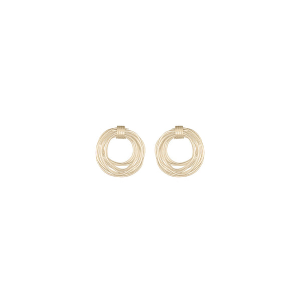 Picture of handmade gold plated small wired circle earrings designed by East London based brand Keep it Peachy, now available to purchase at Cuemars