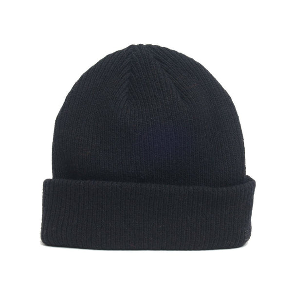 details of natural merino wool beanie hat in black