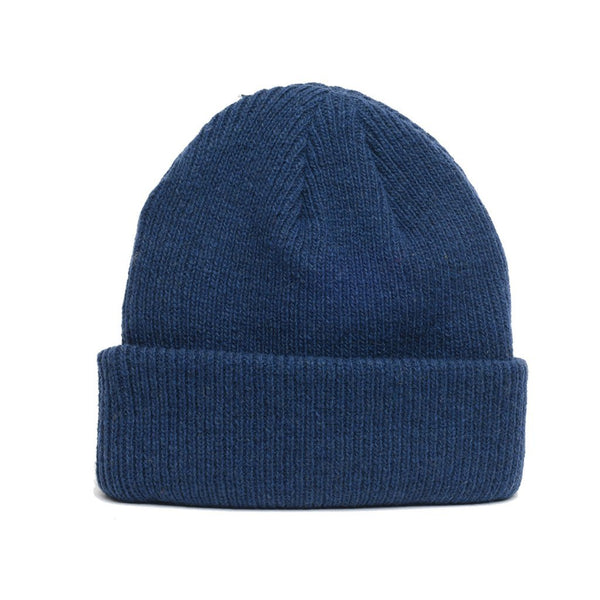 details of natural merino wool beanie hat in dark blue