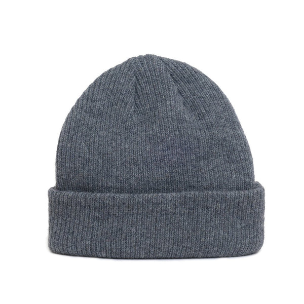 Close up of natural merino wool beanie hat in dark grey