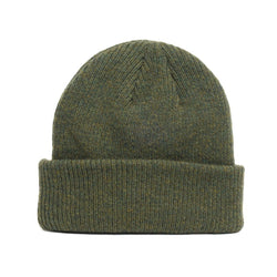 details of natural merino wool beanie hat in forest green
