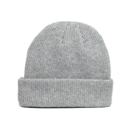 details of one sized natural merino wool beanie in light grey