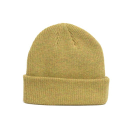 details of natural merino wool beanie hat in mustard