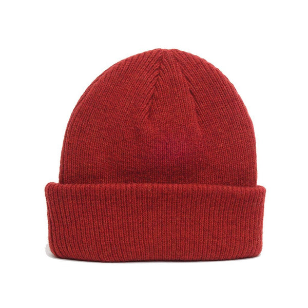 details of natural merino wool beanie hat in red
