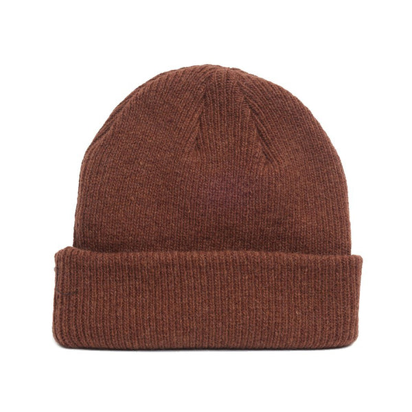 details of natural merino wool beanie hat in spicy brown