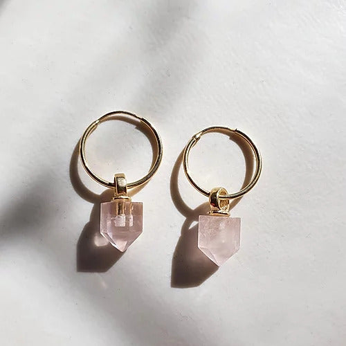 Handmade geometric rose quartz hoop earrings in gold plated sterling silver