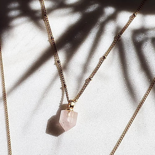 Handcrafted geometric rose quartz necklace in 18ct gold plated recycled sterling silver